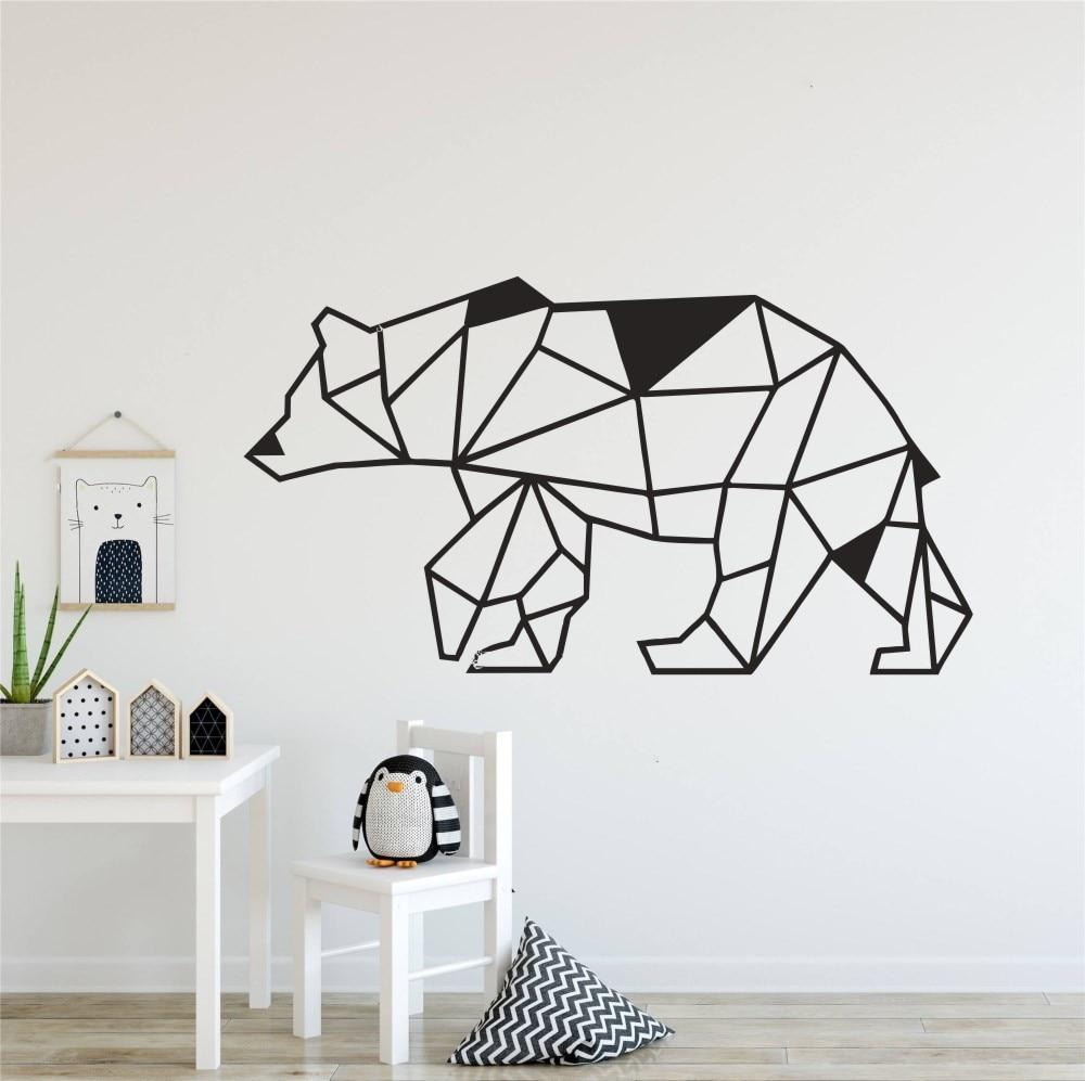 Geometric Woodland Bear Wall Decal Geometry Design Animal Home Decorative Wall Decor Sticker for Nursery Kids Room Y160