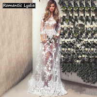 Women Luxurious Floral Floor Length White Lace Dress Sexy Transparent Embroidery Party Long Sleeve Maxi Dresses Vestidos