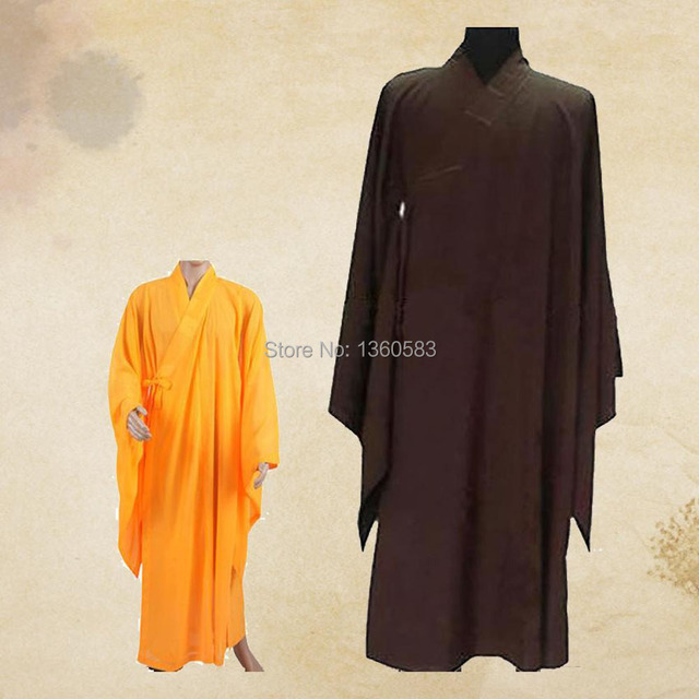 Унисекс 3 цветов дзен-буддизма халат Lay монах медитация платье монах тренировочную форму костюм унг фу ряса одежда аббот бонза костюмы