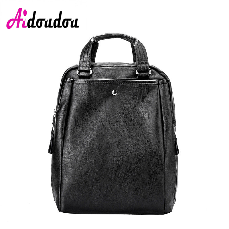 AIDOUDOU BRAND Designer Multifunctional Soft Leather Backpacks Bag Large Capacity Travel Package Mochila Feminina Teenage Girls