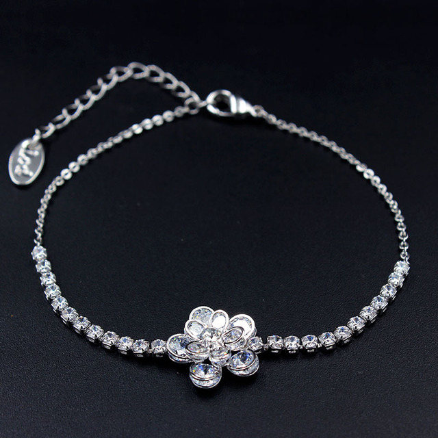 62548f14c38 Flowers Design White Gold Color Bracelets For Women Clear CZ Stones Cluster  Bracelets & Bangles Pulseira Masculina LB0507A