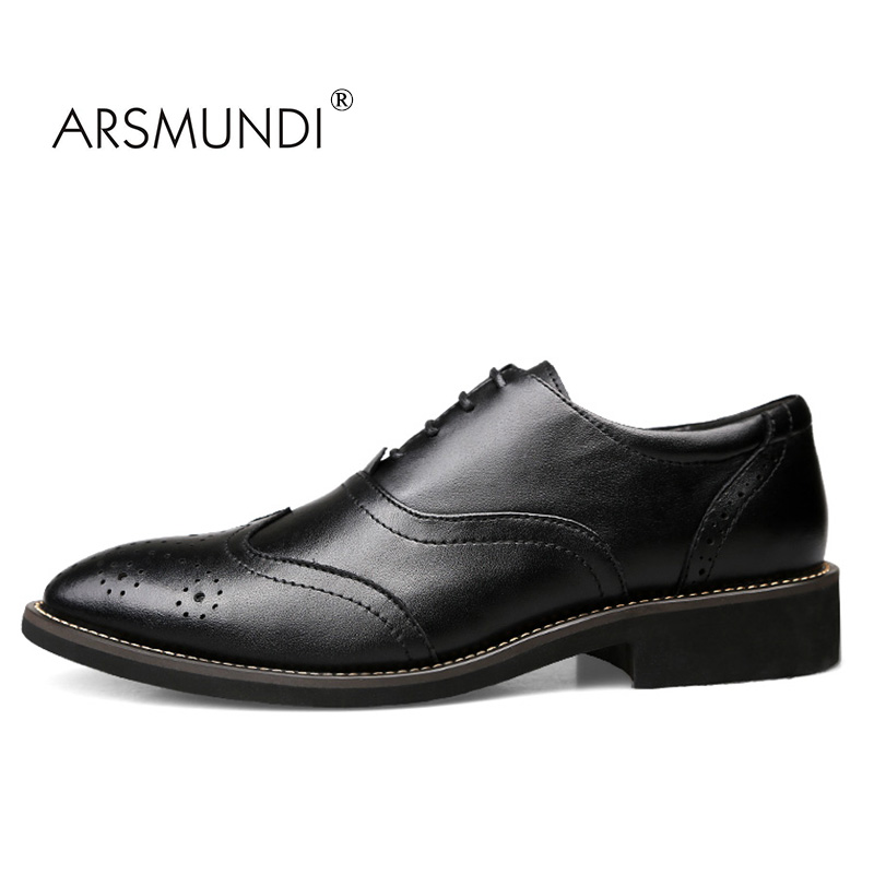 ARSMUNDI Men Dress Shoes Business Genuine Leather Black Fashion Business Dress Shoes 2017 Lace Up Men Formal Dress ZY-3018