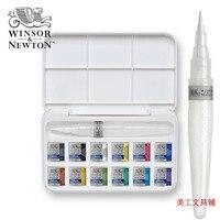 WINSOR & NEWTON однотонная Акварельная краска 12 цветов с краской принадлежности Художественные кисти