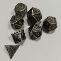 Factory Direct Sales Dnd Dice Metal Rpg Sets Polyhedral Dungeons and Dragons Table Games Zinc Alloy Black Dices Pattern Digital