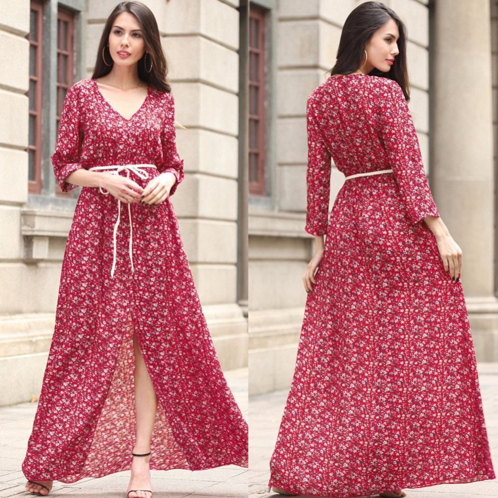 a7f293a9c4dbc Aliexpress.com : Buy Telotuny Printed autumn Floral Boho Long Sleeve women  dress maternity dresses photography props elegant party dress oct 8 from  Reliable ...