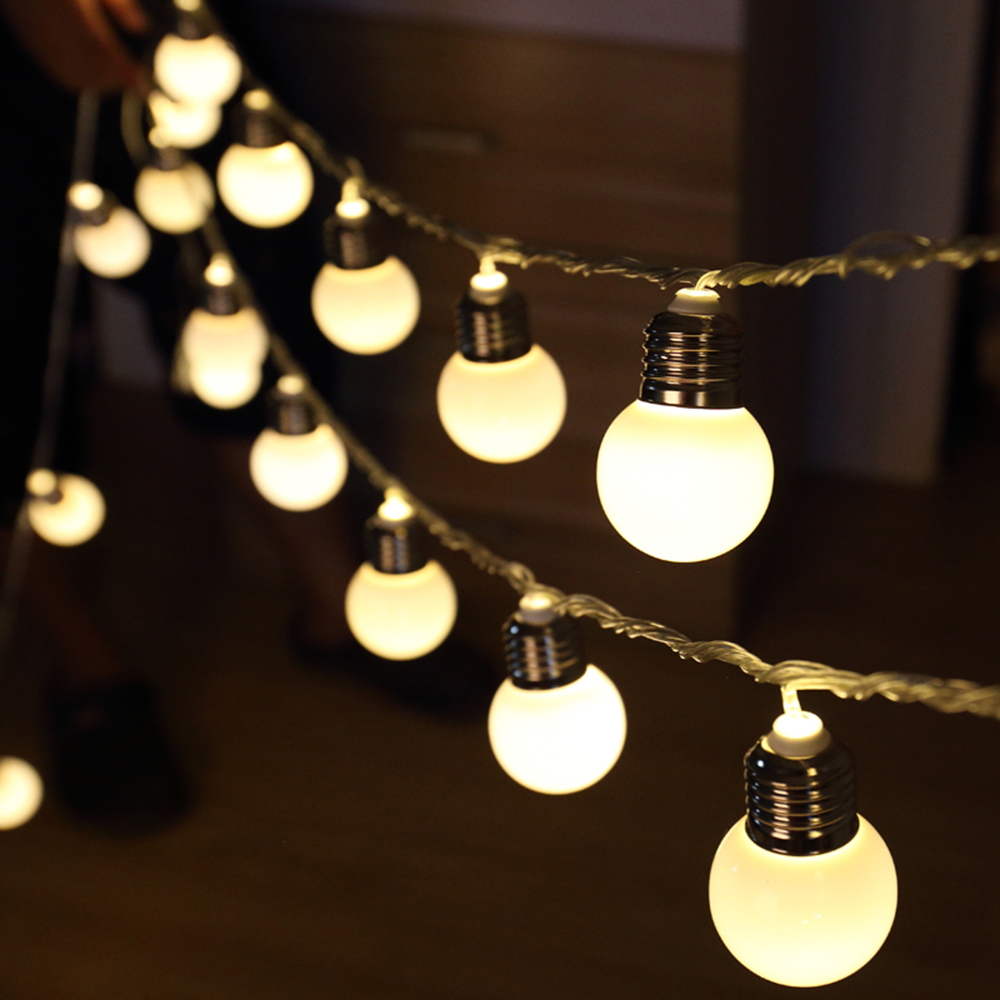 Bedroom wall string lights - Tanbaby 5m 20 Led 4 5cm Globe Ball Festoon Holiday String Lights Waterproof Outdoor Party Fairy