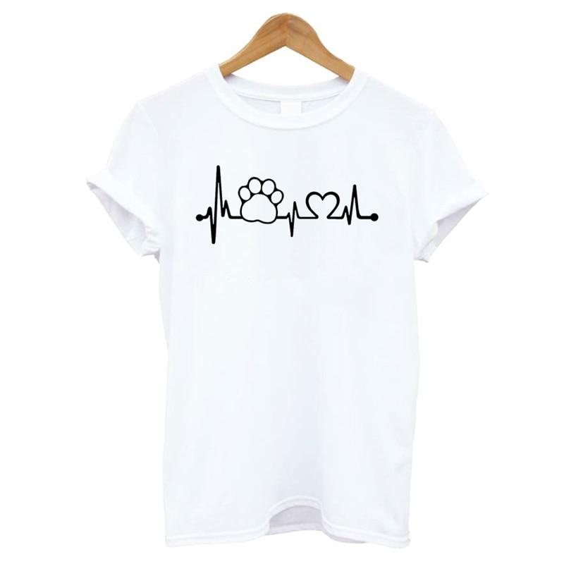 Heartbeat Lifeline dog cat foot Women tshirt Halajuku Casual Funny t shirt For Unisex Lady Girl Top Tees Hipster drop shipping