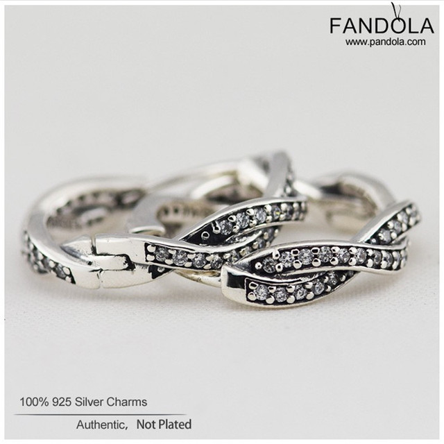 Braided Earrings Sterling-Silver-Jewelry Charm Hoops Earring for Women with Clear CZ 100% 925 Silver Fashion Jewelry Gift