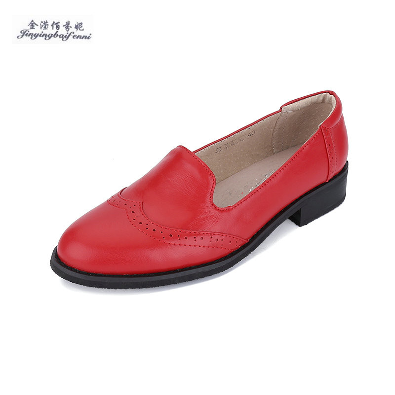 Spring summer genuine leather flat heel round toe single shoes Set foot women s loafers shoes