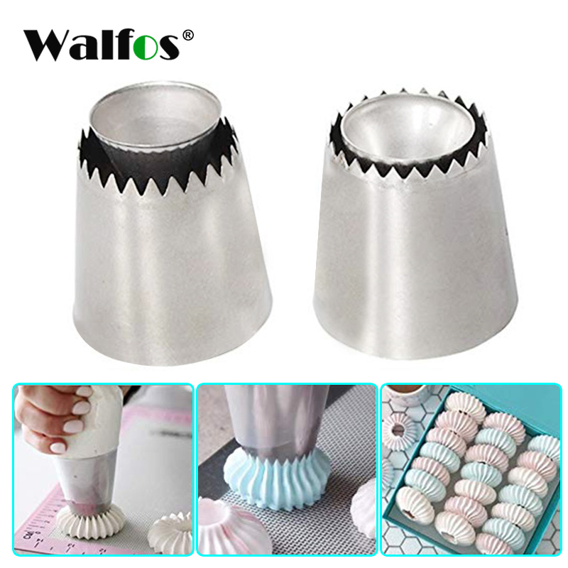 WALFOS Russian Pastry Tip Icing Piping Stainlessl Steel Nozzles Large Icing Piping Nozzles Cupcake Baking Tool