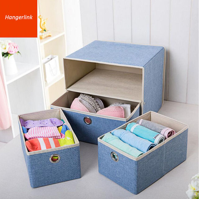 Durable Colorful Fabric Foldable Underwear Storage Box Bin with 3 Drawers Clothes Lingerie Bra Socks & Durable Colorful Fabric Foldable Underwear Storage Box Bin with 3 ...