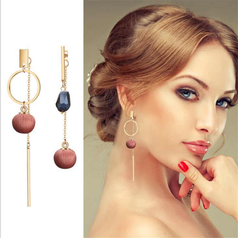 Fashion Long Tassel Dangle Drop Earrings For Women Unique Asymmetric Earrings Temperament Wedding Pink Earrings Trendy Jewelry