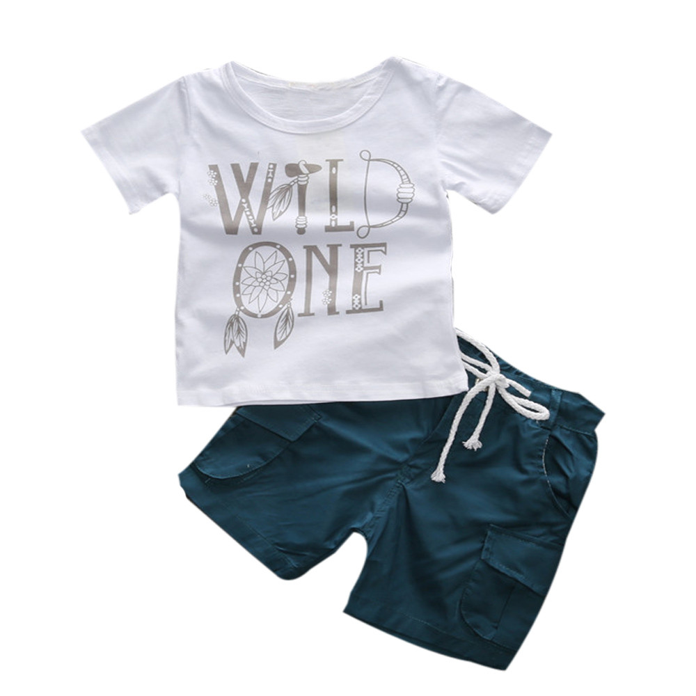 Boy Lettering T-shirt Shorts Set + Solid Cotton Tie Shorts Set Top Cute Fashion Casual H ...
