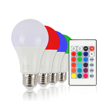 RGB White LED Bulb Lightings Remote Control Smart Led RGBW Colorchange E27 BULB AC85-265V 10W PC Alumium Round