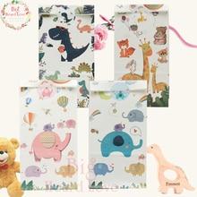 48 шт. украшения для дня рождения, подарочные сумки для детей с изображением жирафа, сумки для конфет с изображением слона, подарочные сумки с изображением диозавра для детского душа, вечерние сумки с тематикой джунглей