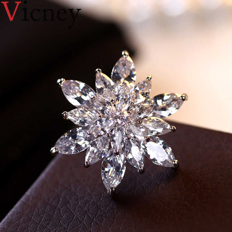 Vicney 2019 Baru Fashion Natal Kepingan Salju Bros AAA Zirkon Bros untuk Wanita Pria Pin Gaun Mantel Aksesoris Perhiasan Hadiah