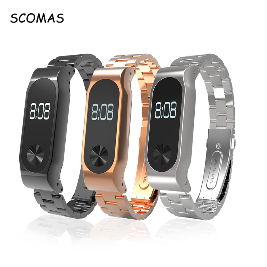 SCOMAS Stainless Steel Band Strap For Xiaomi Miband 2 Replacement Wrist Bands For Xiaomi Mi band 2 Wearable Accessories replacement wrist strap wearable wrist band for xiaomi bracelet