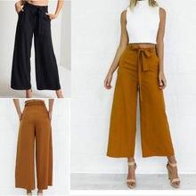 1a83145fd7 Moda Mujer Pantalones Palazzo Culottes sueltos cintura alta pierna ancha  sólida pantalones largos verano sólido otoño