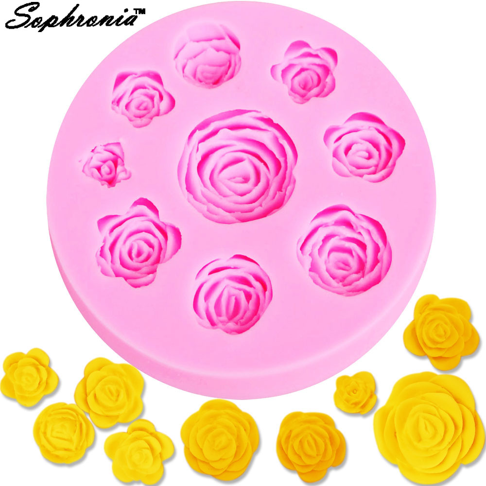 10pcs/set 3D Flowers Silicone Mold Rose Silicone 3D Fondant Cake Mold Tools ,Chocolate Tool DIY Exquisite Rose Cake Tool m036