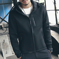 Bomber Jacket Men Autumn Winter Fashion Hip Hop Neoprene Hoody Coats Winterbreaker Big Size Long Sleeve Solid Black Zipper Coat