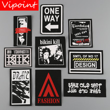 VIPOINT embroidery printed warning patches letter alphabet badges applique for clothing YM-44