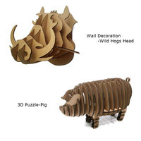 2pcs 3D Wild Hogs Pig Wall Decoration 3D Puzzle Cardboard DIY Handmade Paper Craft Creative Home