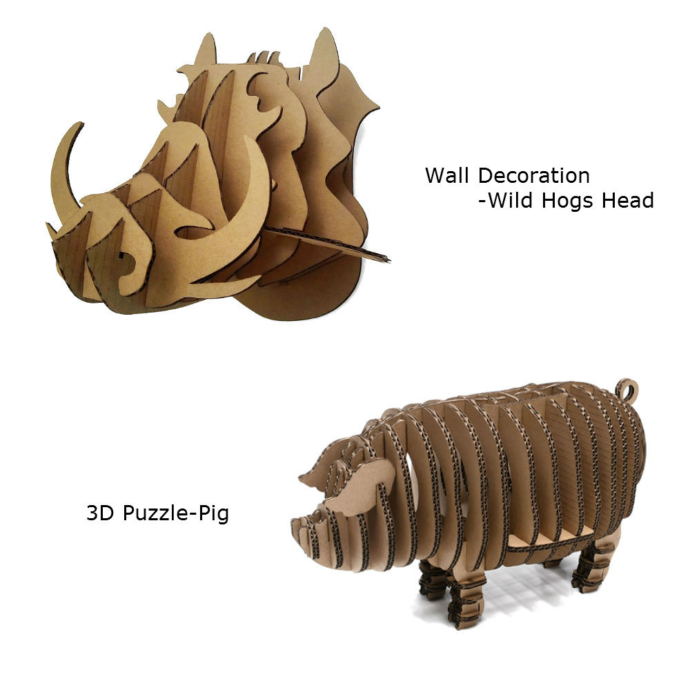 2pcs 3D Wild Hogs Pig Wall Decoration 3D Puzzle Cardboard DIY Handmade Paper Craft Creative Home Decor Kids Toy Party Supplies