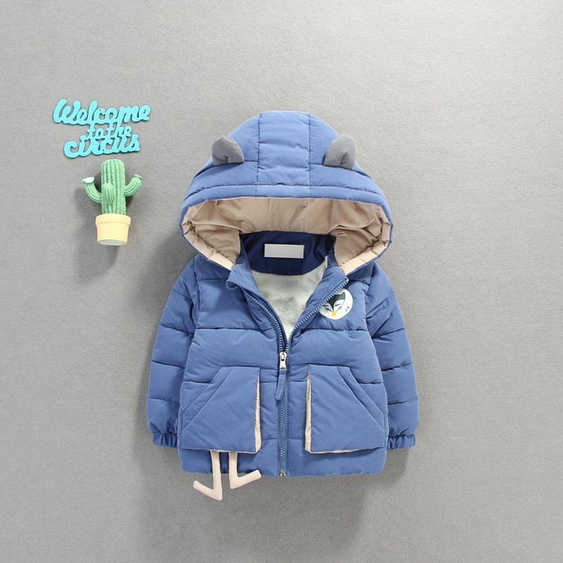 цена на 2018 Rushed Qiu Dong With Children's Wear 0-4 Years Old Male Girl Brief Paragraph Tide Cap Add Flocking Cotton-padded Jacket