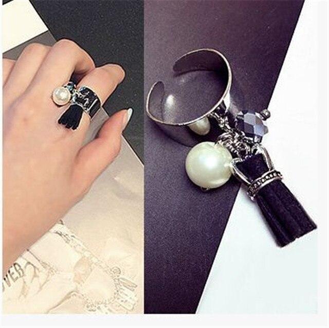 Новый большой имитация перл мозаика покрытием открытия скорректированы женские кольца мода улице избили элегантный стиль прополка кольцо