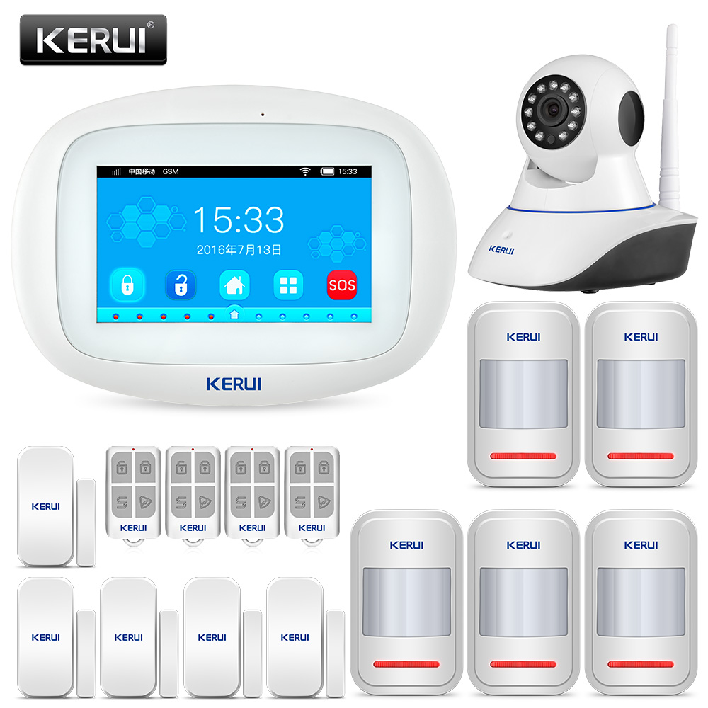 KERUI K52 Wireless Burglar Wifi gsm alarm system Security home Android ios APP Control With 720P Surveillance IP Camera wireless wifi hd ip camera wifi gsm home intruder burglar alarm system security 720p 3 6mm len gsm surveillance device rated