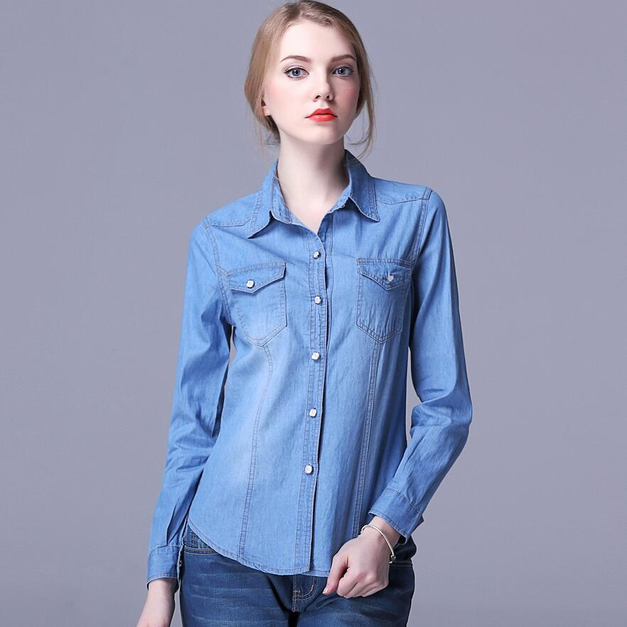 b11cfb3b5d Camisa Jeans outono Mulheres Manga Comprida Turn Down Collar Blusa Mulheres  Calça Jeans Feminina Azul Jean Camisa Da Moda Roupas Femininas M XXL em  Blusas ...