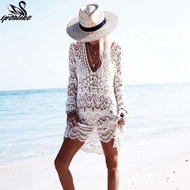 2019 Сексуальная Пляжная накидка крючком белый купальник платье дамы купальный костюм Туника Saida de Praia