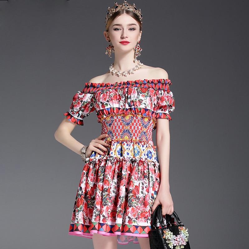 New Fashion 2017 Runway Designer Summer Dress Women s Off the Shoulder Slash neck Charming Sexy