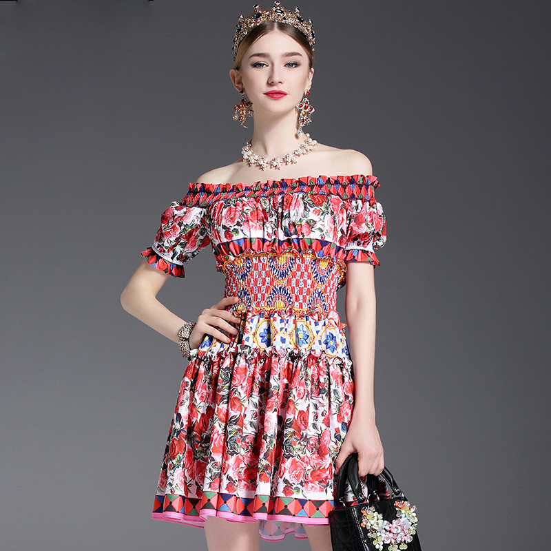 b95f5a3a25269 Fleepmart fashion 2019 Runway Designer Summer Dress Women's Off the  Shoulder Slash neck Charming Sexy Rose Floral Printed Short Dress