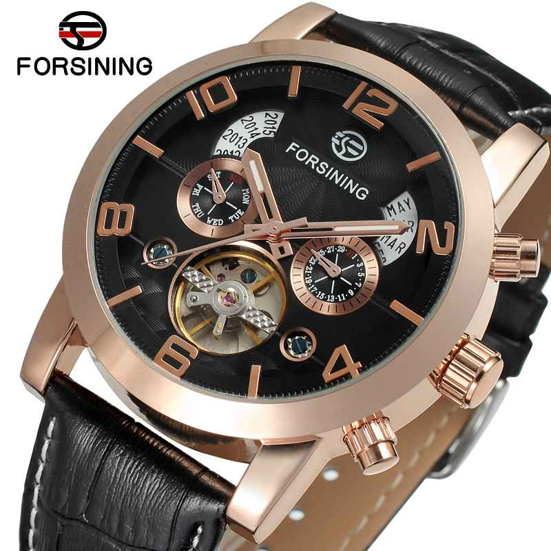 FORSINING Royal Men Auto Menchanical Watches Calendar Date Tourbillon Multifunction Wrist Watch Rose Golden Bezel Leather Strap forsining multifunction tourbillon date day display rose golden watch men luxury brand automatic watch fashion men sport watches