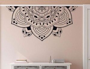 Image 1 - Decoración del hogar media Mandala de pared calcomanía estilo de meditación pared del dormitorio Mural media Mandala adhesivo de ventana de coche pegatinas de cabecera MTL14