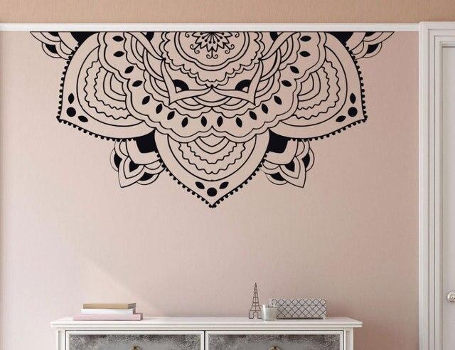 Decoración del hogar media Mandala de pared calcomanía estilo de meditación pared del dormitorio Mural media Mandala adhesivo de ventana de coche pegatinas de cabecera MTL14