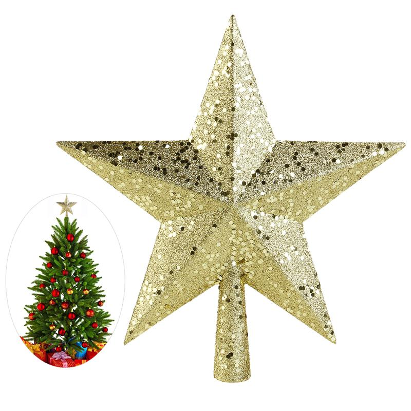 1PCS Hot Sale New Cute 4.5 inch Gold Powder Christmas Star Christmas Tree Toppers Christmas tree ornaments Xmas