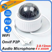 4X Zoom 2 8 12mm Indoor Wireless Revolving Dome PTZ IP Camera Wifi HD 1080P Audio