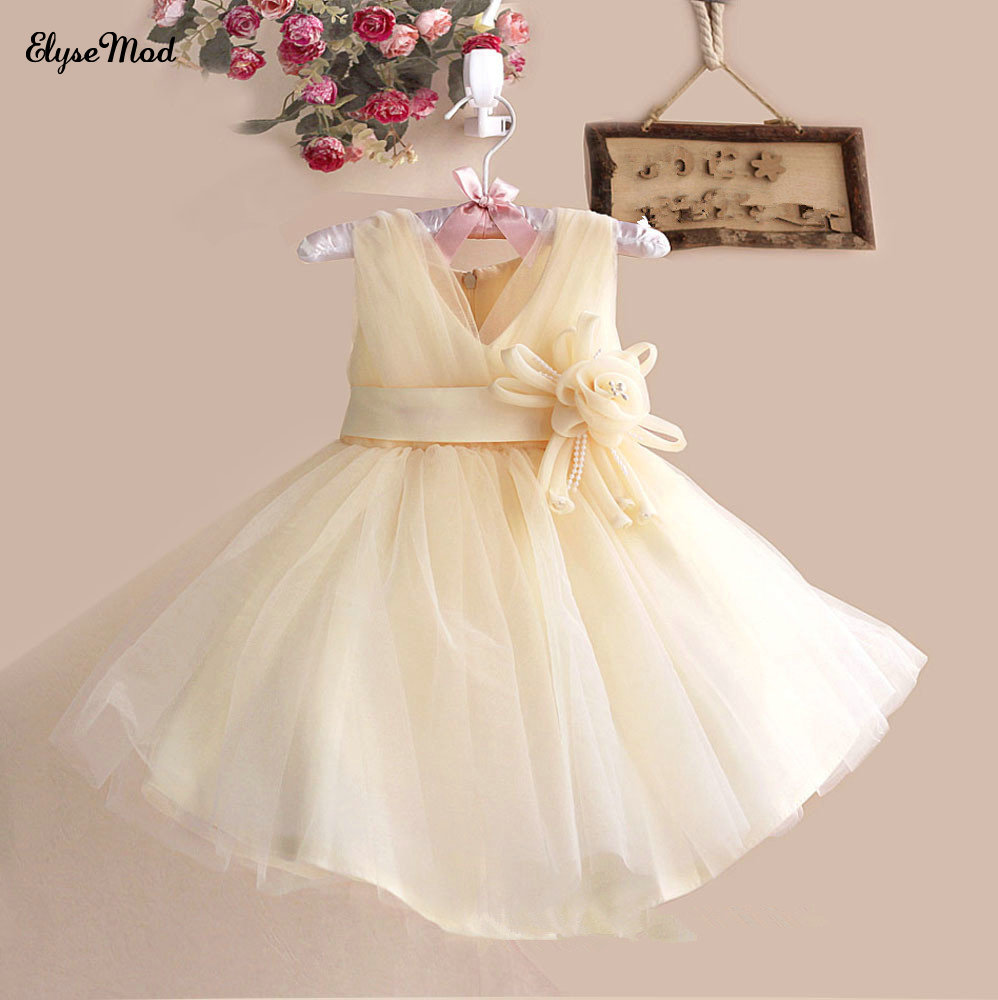 Cute A-Line Flower Girls Dresses For Wedding Party Tulle Communion Dresses Kids Gowns