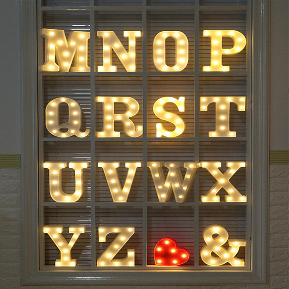 Warm Light Letters DIY LED Holiday Lighting Alphabets A-Z Heart Symbol Plastic LED Lights Bedroom Wedding Party Festival Decor