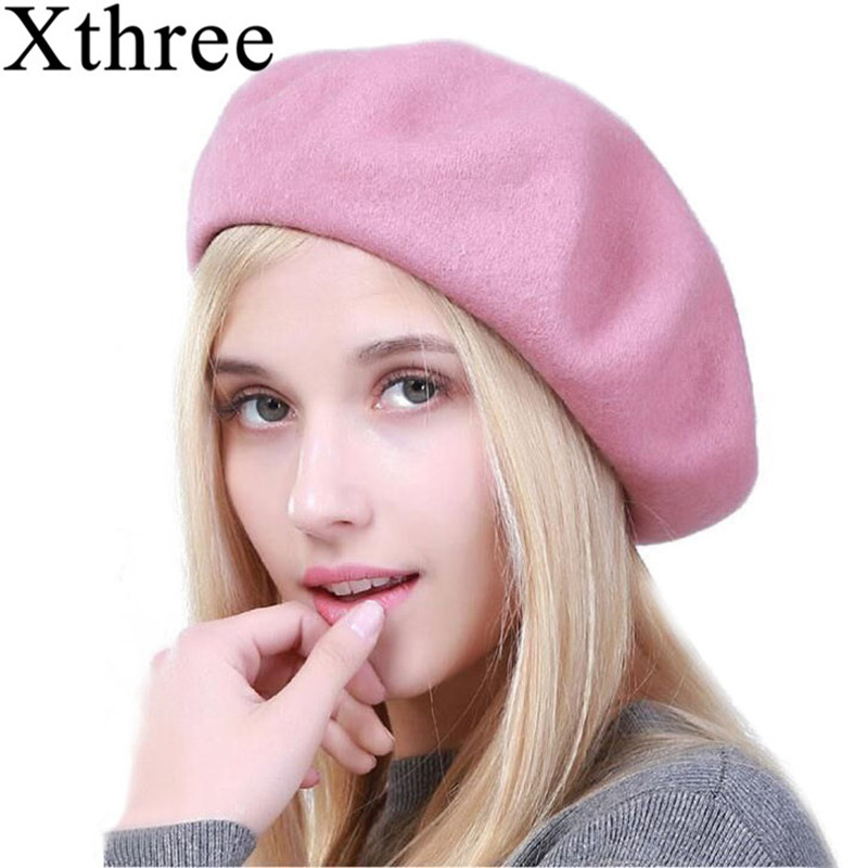 14fbf22896c8c Xthree winter women s hat wool beret hat rabbit fur knitted beret hat for  girl fashion lady