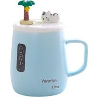 Creative Kawaii Coffee Mugs Ceramic Cups Milk Mug with Cat Lid Coconut Tree spoon Tea Cup Thermos water Bottle Birthday Gifts