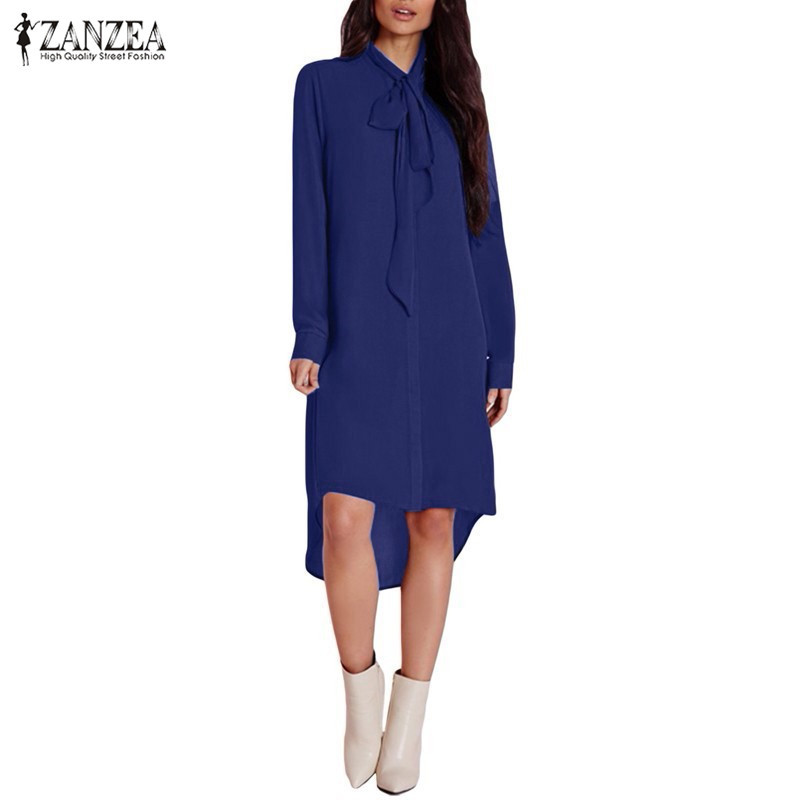 2016 zanzea fashion blusas femininas women shirt dress bow Women s long sleeve shirt dress
