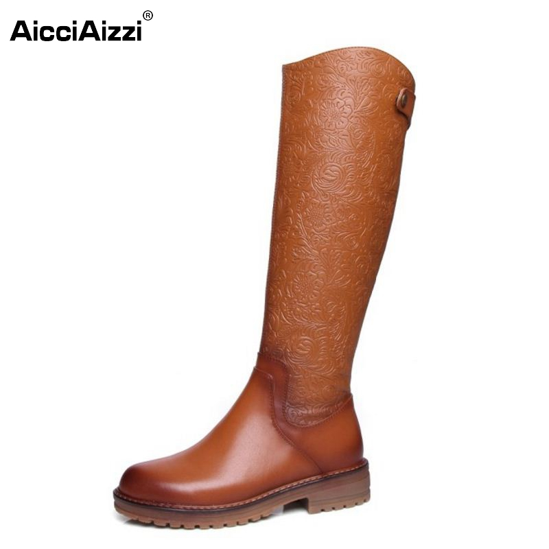 ФОТО Vintage Women Real Leather Knee Boots Winter Snow Boots Sexy Square Heel Fashion Zip Women Riding Boots Women Shoes Size 34-39