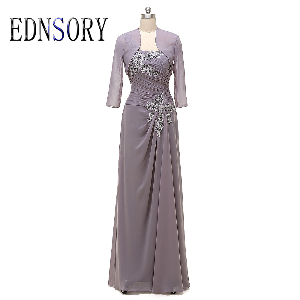 Long A Line Mother Of The Bride Dresses 2017 Pleat Chiffon