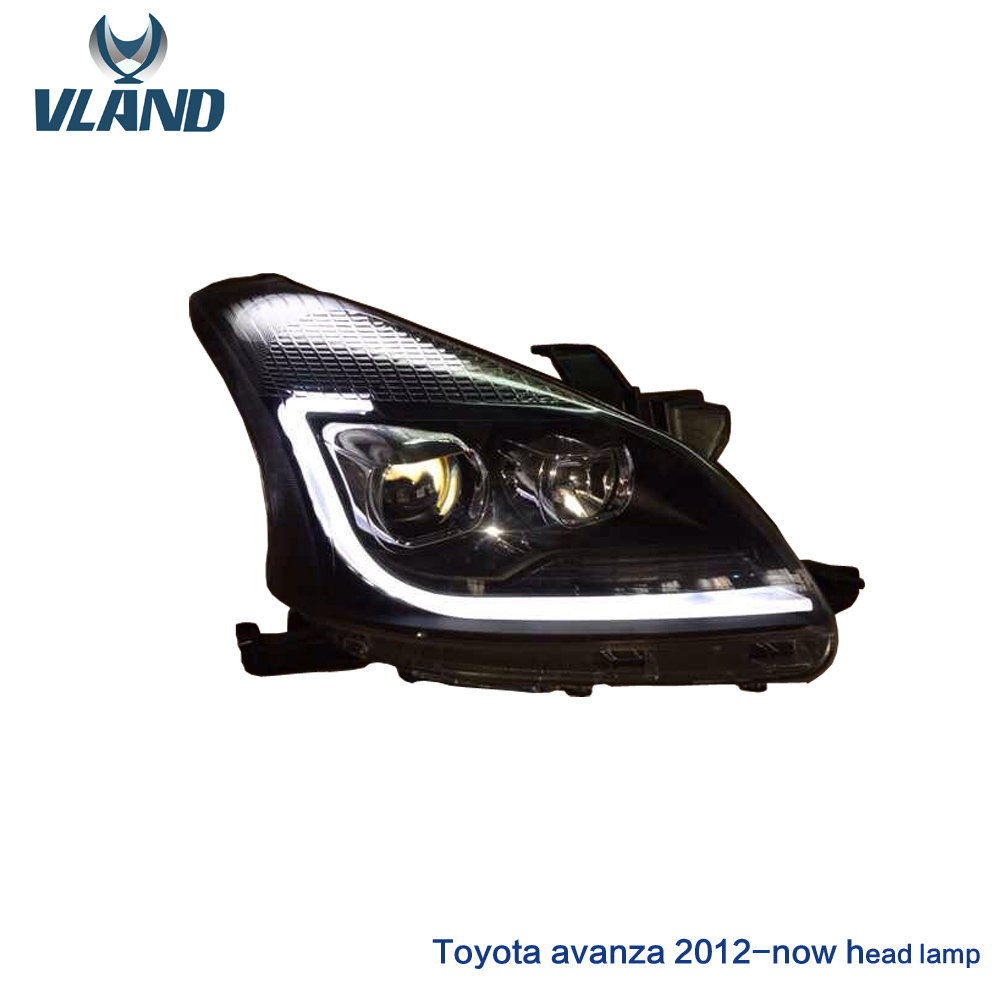Free shipping vland car styling for AVANZA LED head lamp factory wholesale headlight 2012 2015 front light free shipping for vland factory for car head lamp for audi for a3 led headlight 2008 2009 2010 2011 2012 year h7 xenon lens