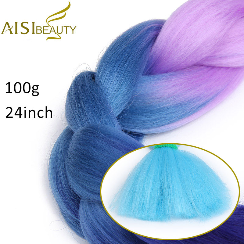 AISI BEAUTY Kanekalon Jumbo Braids Hairstyles Hair Extension For Russian Women Synthetic Braiding Hair pure color 24 100g