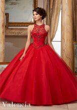Rojo azul marino Vestidos De quinceañera 2021 De cuello alto con cuentas trajes De disfraces Sweet 16 vestido Vestidos De 15 años