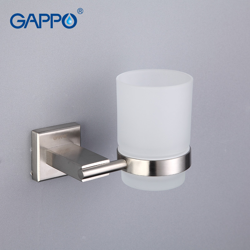 GAPPO Cup Tumbler Holders bathroom Single cup holder glass toothbrush holder Wall mounted Bathroom Accessories image